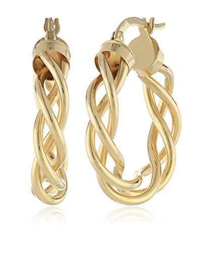14k Yellow Gold Italian Fancy Woven Tube 15 mm Hoop Earrings by Amazon Collection