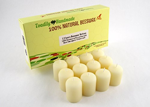 Attractive Gift Box (One dozen (12) Hand Poured Solid Beeswax Votive Candles in Ivory Wax - 100% Beeswax Candles by Toadily Handmade - Now Packaged in an Attractive Gift Box! - Made in the USA)