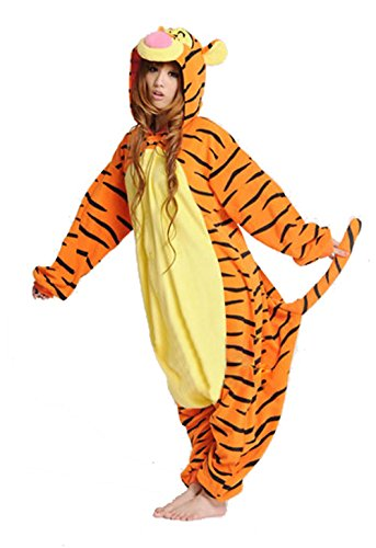Halloween Party Costume Animal Onesie Kigurumi Pajama For Adult and Teens Tigger Large (Orange Onesie For Adults)