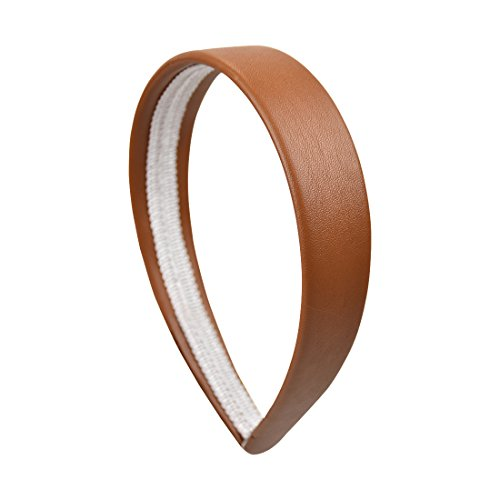 Lites Leather Brown (Light Brown 1 Inch Wide Leather Like Headband Solid Hair band for Women and Girls)