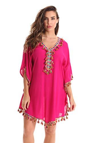 Fuchsia Embroidery - Riviera Sun Ladies Short Caftan Dresses for Women 21974-FUS-M Fuchsia