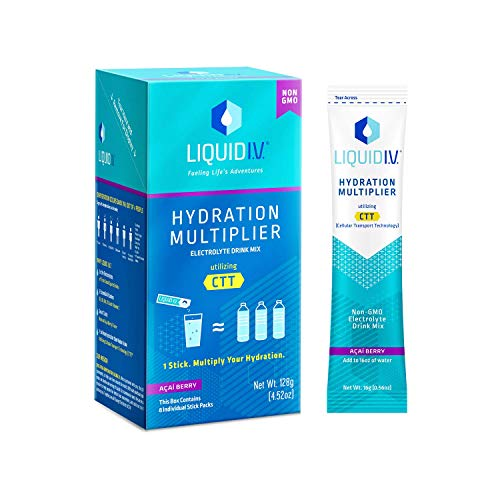 Liquid I.V. Hydration Multiplier, Electrolyte Powder, Easy Open Packets, Supplement Drink Mix (Acai Berry, 8 Count)