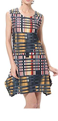 Sleeveless Crewneck Sundress Pleated Dress Women's Swing Printed Cromoncent 1 vq5a7a