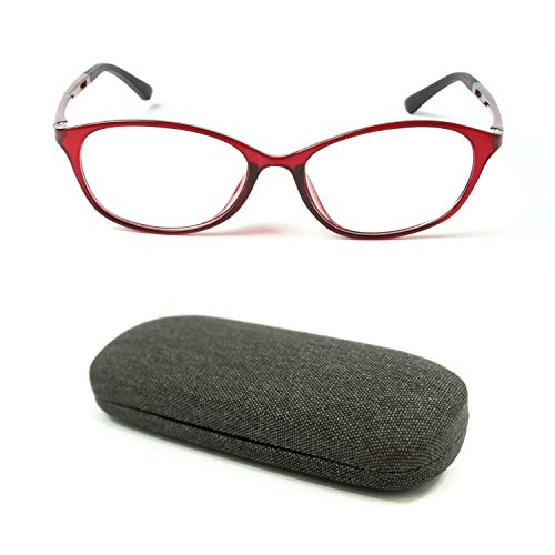 MIDI High Quality Blue Light Blocking Reading Glasses for Women (M-112) with a Hard Shell Eyeglass Case / TR90 Frame (Red,+1.25)(m112c2-125)