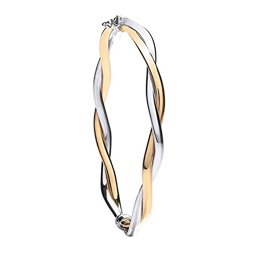 9 ct 2 Couleur Blanc et Jaune doré Fancy Twisted Bracelet 6.4 G