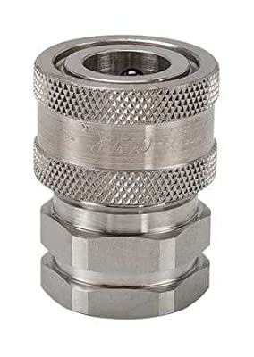 """Snap-Tite SVHC12-12F Stainless Steel 316 H-Shape Quick-Disconnect Hose Coupling, Sleeve-Lock Socket, 3/4"""" NPSF Female x 3/4"""" Coupling Size"""