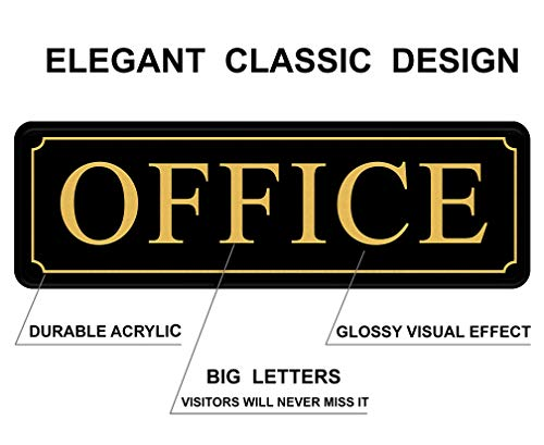 Office Sign for Door or Wall - Main Office Signs - Quick and Easy Installation - Self-Adhesive for Doors or Walls - 9 X 3 in - in Office Sign for Home and Business Sign - Big Letters on Black Plate.