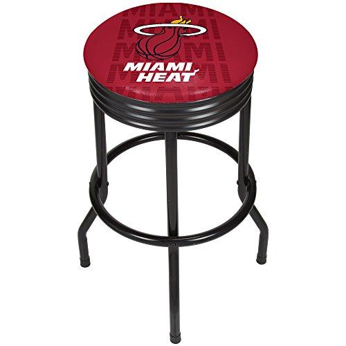 Trademark Gameroom NBA1006-MH3 NBA Black Ribbed bar Stool - City - Miami Heat