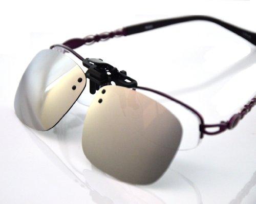 Besgoods Cool Silver Mirror Polarized Clip-on Flip up Sunglasses Plastic Lenses