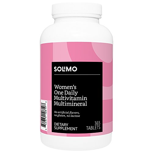 Amazon Brand - Solimo Womens One Daily Multivitamin Multimineral, 365 Tablets, Value Size - One Year Supply