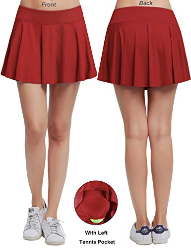 HonourTraining Women's Built-in Shorts Skirts Fitness Pleated Skirts Active Running Tennis Golf Lightweight Skorts Size L (Red)