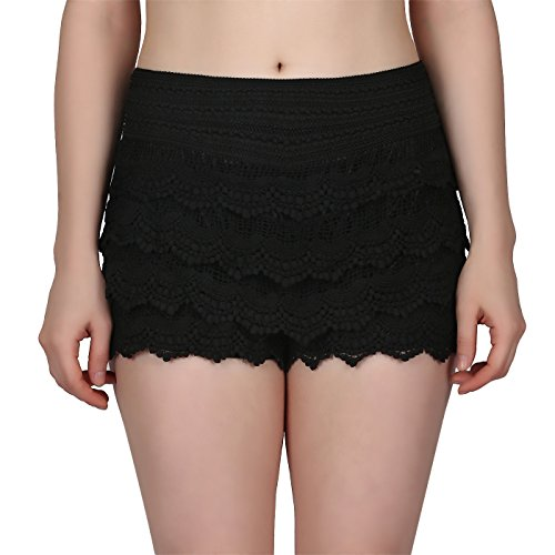HDE Women's Lace Shorts Fitted Scallop Hem Crochet Mini Hot Pants (Black, Large)