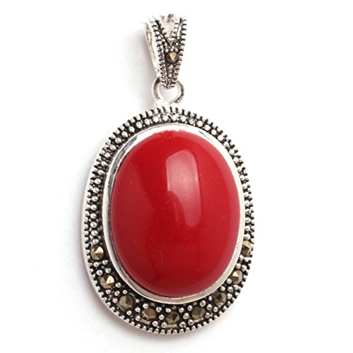 GEM-inside 20x36mm Oval Faceted Manmade Red Coral Beads Marcasite Tibetan Tibetan Silver (Red Coral Oval Pendant)