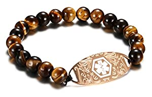 JF.JEWELRY Tiger Eye Beaded Medical Alert ID Bracelet for Men and Women,Free Engraving,7.5 inch