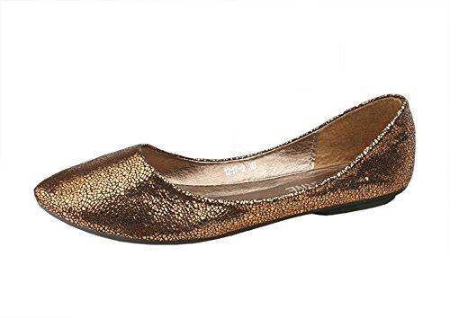 Chfso Womens Flats Pompes Bout Pointu Bateau Chaussures Marron