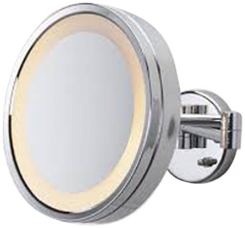 See All HLCSA1095 Halo Lighted 9 3/4-Inch Diameter Wall Mounted Make Up Mirror 5X, Chrome