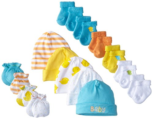 gerber-unisex-baby-newborn-ducks-15-piece-socks-caps-and-mittens-essential-set-green-0-3m-0-6m