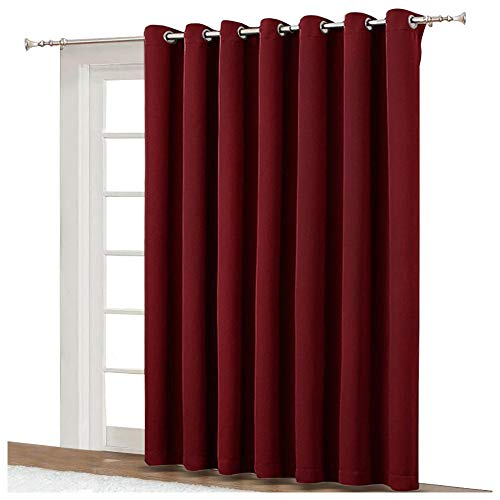 NICETOWN Blackout Blinds for Sliding Door - Indoor Slider Curtains for Patio, Wide Width Drapes for Living Room (Burgundy Red, 100