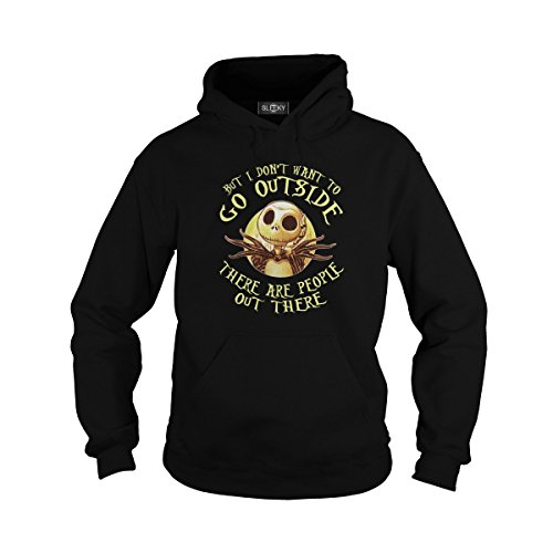 Unisex Jack Skellington But I Dont Want to Go Outside There are People Out There Hoodie (M, Black)