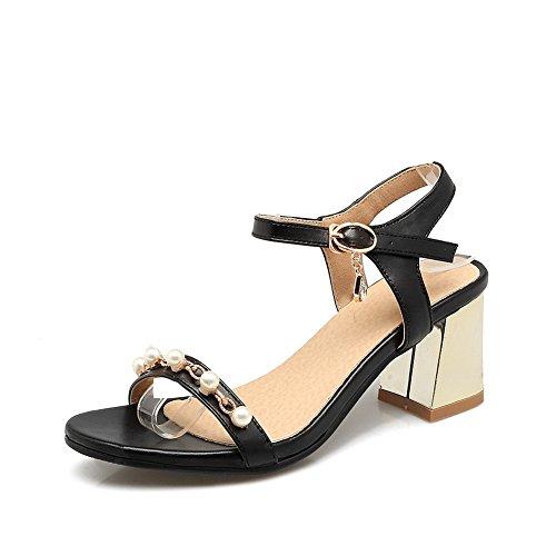 BalaMasa Womens Sandals Studded Huarache Urethane Sandals ASL04395 Black