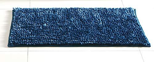 (Hudson & Essex Chenille Noodle Bath Rug: Iridescent Indigo Blue Non Slip Bath Mat Design (20