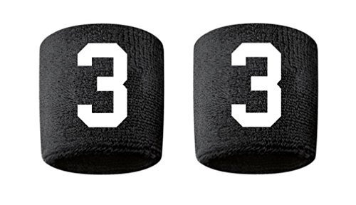 #3 Embroidered/Stitched Sweatband Wristband BLACK Sweat Band w/ WHITE Number (2 Pack) by CustomSweatbands