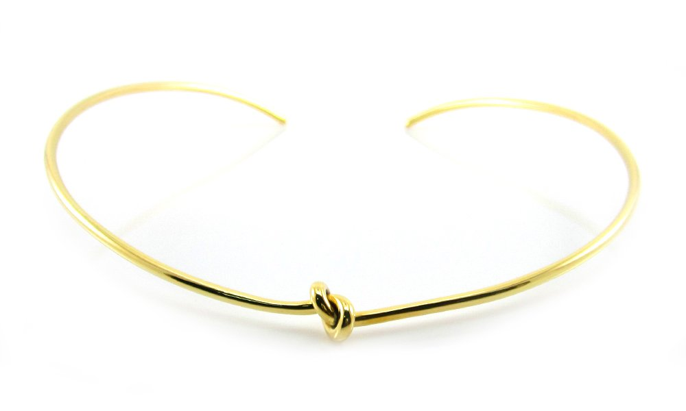 MGD, 2 MM Diameter Wire Knot Neckwire,Gold Tone Brass,Adjustable Collar Choker One Size Fit All,Fashion Jewelry for Women,JE-0077N