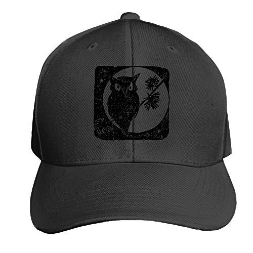 Owl Moon Bird Autumn Halloween Men's Structured Twill Cap Adjustable Peaked Sandwich Hat -