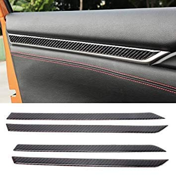 Uniqus Carbon Fiber 3D Interior Door Trim Decals DIY Decorative Sticker for Honda Civic 10th Gen