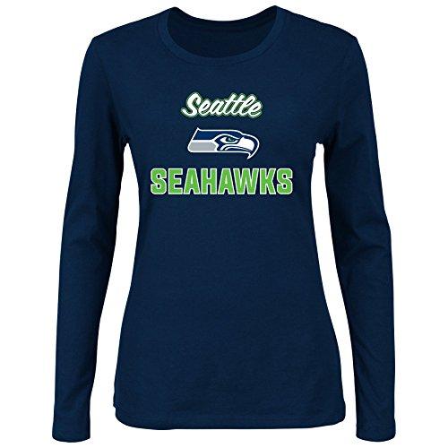 NFL Seattle Seahawks Women L/S SCOOP NECK TEE, NAVY, 1X