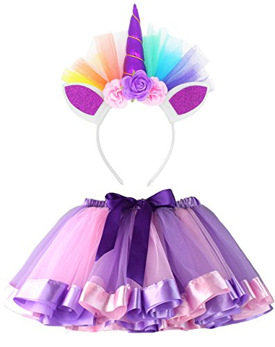 LYLKD Little Girls Layered Rainbow Tutu Skirts with Unicorn Horn Outfit Princess Ballet Dance Costumes (Purple, M,2-4 Years)