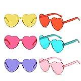 6 Packs Heart Transparent Multicolor Party Favors Big Rimless Sunglasses for Women (Mix)