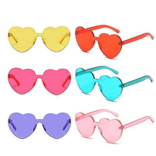 Heart Transparent Multicolor Party Favors Big Rimless Sunglasses for Women (Mix)