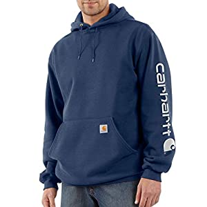 Fashion Shopping Carhartt Men's Midweight Sleeve Logo Hooded Sweatshirt (Regular and Big & Tall Sizes)