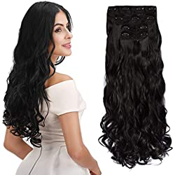 "REECHO 18"" Curly Wavy 4 Pieces Set Thick Clip in on Hair Extensions Black Brown"