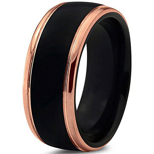 [EnvyJ] 8mm 18K Rose Gold Plated Black High Matte Tungsten Rings Carbide Domed Brushed Men's Women Wedding Band Ring Comfort Fit Finish Fit Size 5-16 w/ velvet box - Men 5 Size