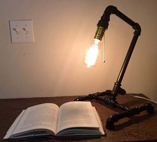 Industrial Light Fixtures Amazon: Amazon.com: Black Steel Pipe Lamp, Desk Lamp, Industrial