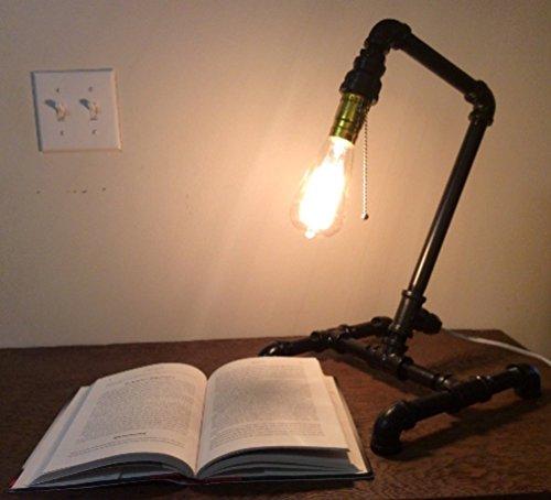 Black steel pipe lamp, desk lamp, industrial light fixture, steampunk lamp, rustic lighting, office lamp, bedside table lamp, repurposed by Shelton Woodworks