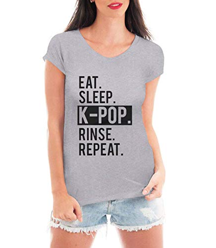 Blusa Criativa Urbana Kpop Repeat Blusa T Shirt Music Cinza Gg