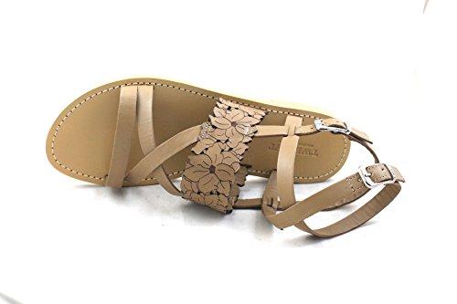 sandalo cuoio twin set laserato doppia fibbia tacco basso n40