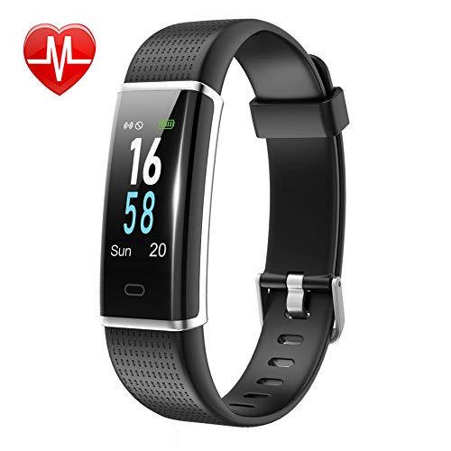 Lintelek Fitness Tracker, Color Screen Activity Tracker with Heart Rate Monitor, Sleep Monitor, 14 Sports Modes, IP68 Waterproof Pedometer, Step Counter for Kids, Women, Men (Scan This Code With Your Mobile Device)