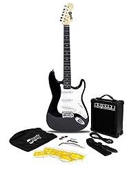 RockJam RJEG02-SK-BK ST Style Electric Guitar Super Pack with...