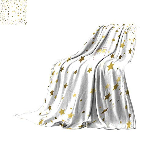 Plush Throw Blanket Digital Printing WarmRandom falling gold stars on white background Glitter pattern for banner greeting card Christmas and New Year card invitation postcard paThrow Blanket 80