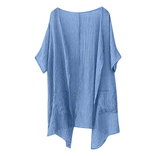 Women Open Front Fashion Cardigan V Neck Comfy Waterfall Casual Shirt Tops Short Sleeve Cover Ups Sexy Summer Blouse Blue ()