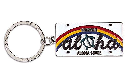 (Welcome to the Islands Hawaiiana Keychain Metal License Plate Aloha Honu Turtle)