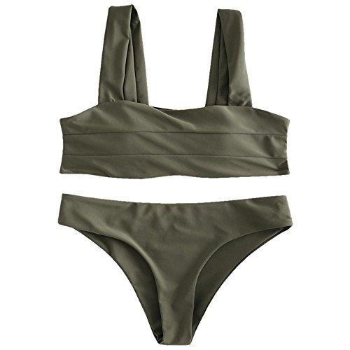 DEZZAL Women's Wide Straps Padded Solid Two Piece Bandeau Bikini Set Swimsuit (Camouflage Green, L) ()