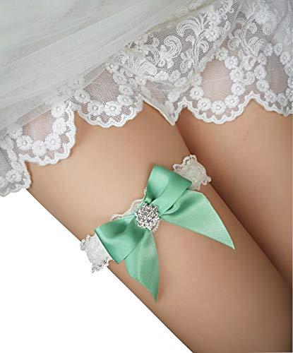 YhdDiy Bridal Garter Wedding Bow Lace Garter for Bride Rhinestone S23 (Green)