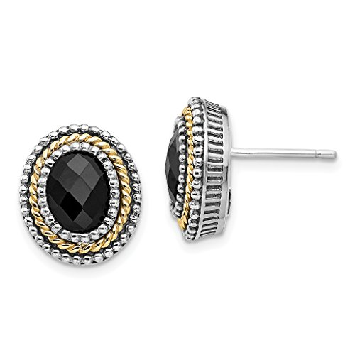 ICE CARATS 925 Sterling Silver 14k Black Onyx Post Stud Ball Button Earrings Fine Jewelry Gift Set For Women Heart by ICE CARATS