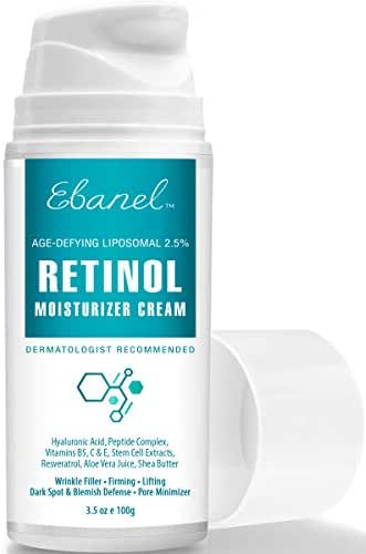Retinol Cream Moisturizer 2.5% - 3.5 Oz, Anti Wrinkle Anti Aging Face Cream with Hyaluronic Acid, Peptides, Vitamin B5 C E, Aloe Vera, Shea Butter, Rapid Wrinkle Repair Redness Relief Face Night Cream