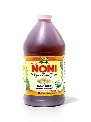 100 Noni Juice - Virgin Noni Juice - 100% Pure Organic Hawaiian Noni Juice - Half Gallon Jug (64oz)
